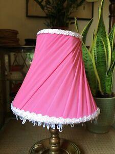 Vintage Mid-Century 1960s Pink Fabric Pleated Light Shade Tassled Boudoir A