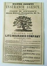 1867 New York Palmyra Charter Oak Wayne County Life Insurance Advertisement Ad