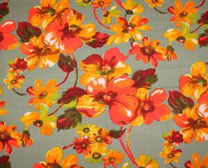 Vintage VHY Hawaiian Textiles #8306 Fabric Large Bright Orange Floral  3 Yards