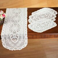 """5 PC Dining Room Table Linens Lace (4) Placemats & 58"""" Table Runner Set"""