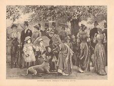 Church Parade, Hyde Park, London, Great Dane Dog, 1893 German Antique Art Print