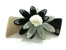 Ivory Plastic Spangle Other Jeweleries Auth Alexandre de Paris Black Gray