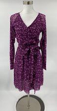 Sweet Pea Stacy Frati Faux Wrap Dress Crossover Animal Print Purple Size M N6