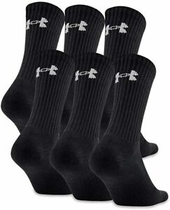 Under Armour Adult UA Charged Cotton 2.0 Crew - 6-Pack Black Large 8-12