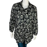 New Style & Co Womans Floral Print Button Up Shirt Blouse Sz 3X Stretch NWT