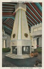 Old Postcard - Fireplace - Edgewater Beach Hotel Chicago