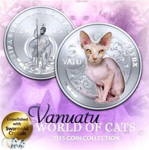 Vanuatu 5 vatu 2015 UNC Sphynx Cat Silver Plated Colorized Coin