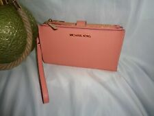 Michael Kors Jet Set Travel Large Double Zip Wristlet Peach Leather Clutch Bag