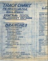 PRR Pennsylvania Railroad Track Chart Allegheny Division Branches FREE SHIPPING