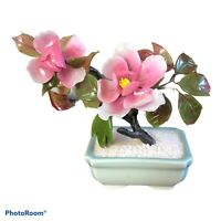 "Vintage 6"" Jade Bonsai Tree Cherry Blossom Rose Quartz/Glass Celadon Pot"