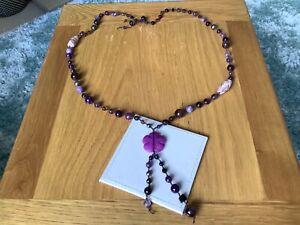 Vintage Purple Colour Glass & Gemstone Long Necklace.