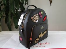 NWT Kate Spade Saffiano Leather Leopard Tomi Run Wild Backpack Black