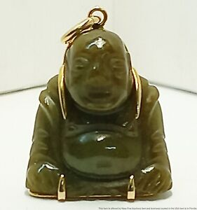 Spinach Jade Carved Happy Smiling Buddha 14k Gold Pendant Charm