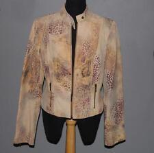 VAKKO SPORT Leopard Splash Stiff Suede Leather Mock Collar Jacket WMS 10 UNWORN?