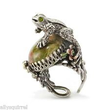 NEW SWEET ROMANCE OLLIPOP GREEN FROG WITH FLOWERS RING