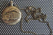 Trucker Pocket Watch Quartz Pendant and Chain