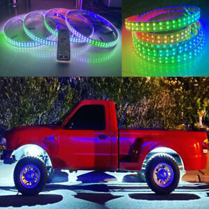 "2PC Underglow IP68 Strips + 17.5"" Wheel Well Lights For Truck Chasing Bluetooth"