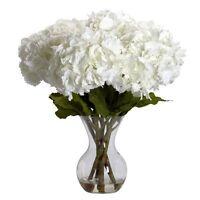 Nearly Natural 1260 Large Hydrangea w/Vase Silk Flower Arrangement