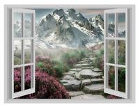 Mountain Path Gazing Window Poster 3D Art Wall Sticker Vinyl Decal Mural