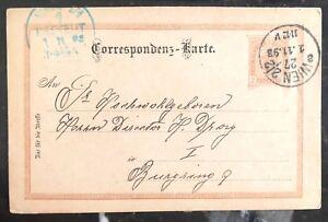 1893 Vienna Austria Postal Stationary Vintage Postcard Cover Domestic Used