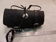EXL BLACK REAL LEATHER FRONT FORK TOOL BAG POUCH TB2032 NEW W/ TAGS MOTORCYCLE