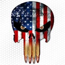 American Flag Punisher Skull Sticker Gun Bullet Teeth USA Decal Bumper for Jeep