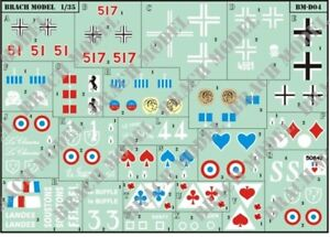 Decals for 1/35 WWII Renault R35 in French, German, Italian & Polish Service