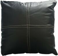 Logan and Mason 2 x Monaco Faux Leather Walled Black Filled Cushion 43cmx43cm