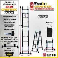 ESCABEAU 3 FONCTIONS WOERTHER - GRAFITEK 3M20/1M60 - PACK 2 ( + HOUSSE)