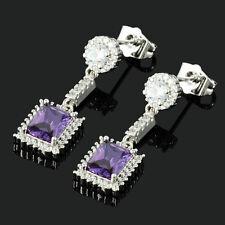 Rectangular Cut 18K White Gold Plated CZ Zirconia Purple Amethyst Drop Earrings