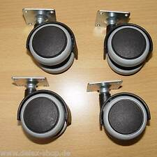 4 Piezas Ruedas para muebles 50mm Ruedas de suelo duro Gummi pequeño Placas