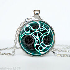 DR Who Time Lord del sigillo, Steampunk Argento/Blu Collana Ciondolo Catena .32""