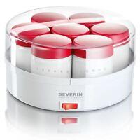 Severin JG 3519 Home Yoghurt Maker with 14 Glass Jars & Memory Dial & Lid, White