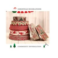 2Meters Burlap Deer Wired Ribbon Christmas Trees Snowflake Letters DIY Bow Decor