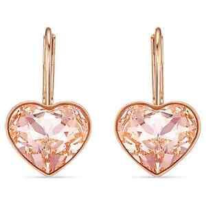Swarovski Crystal Bella Heart Pierced Earrings, Pink Rose-Gold Plated 5515192