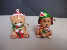 Set 2 W.A. 1985 Dog Puppy Cat Kitten Christmas Tree Ornaments Hong Kong Vintage