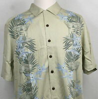Caribbean Joe Casual Shirt Hawaiian beige with leaves flowers and cups size L