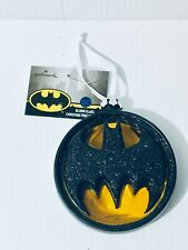 "New Hallmark Batman Bat Man DC Comics Bat Signal Glass Ornament Large 4x4"""