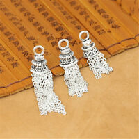 925 Sterling Silver Cable Chain Tassel Charms Pendant Necklace Bracelet Tassel