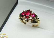 10K Yellow Gold Red Garnet Oval Ring Signed Size 5.5 Stunning Vintage Ladies THL