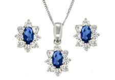 9ct White Gold Blue And White CZ Oval Flower Pendant Jewellery With Gift Box