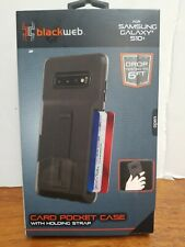 Blackweb Card Pocket Case For Samsung Galaxy S10 With Holding Strap *NEW*