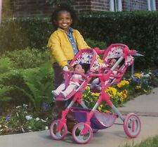 Iissi Doll Pink Double Stroller Toy For Kids Girl's Age 3 & Up Adjustable in Box
