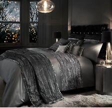 Kylie Minogue Bedding Zander Silver Grey Velvet Sequins King Duvet Quilt Cover