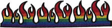 "8"" Rainbow Flame Strip Embroidered Patch / Iron On Applique, Gay Pride"