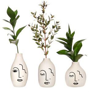 Sass & Belle Black & White Abstract Face Vases Set Of 3 flowers houseplant decor