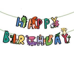 Dinosaur Boys&Girls Happy Birthday Banner Hanging Bunting Party Decors Garland