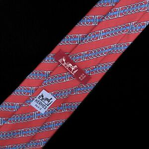 HERMES Paris 885 PA Striped Link Red Color Silk Necktie Tie Made In France