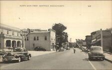 Mansfield MA North Main St. Cars Tydol Gas Postcard
