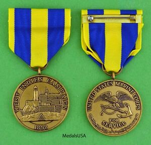 West Indies Campaign Medal Marine Corps  - 1898 Spanish American War Cuba USM311
